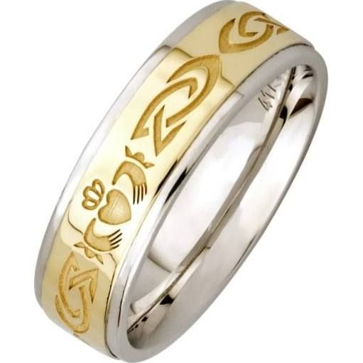 Cute Claddagh Silver Wedding Band with Gold Center