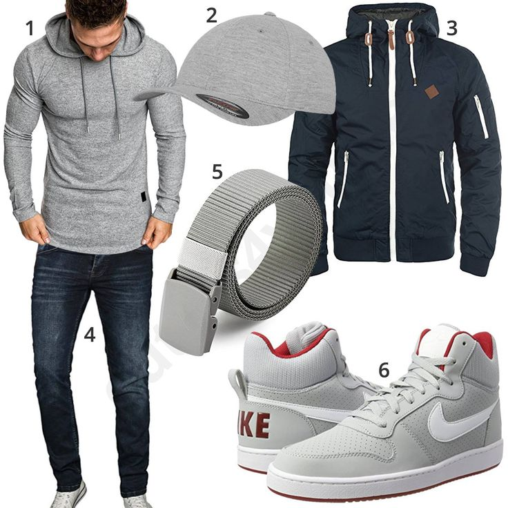 Hellgrauer Style mit hohen Nike Sneakern und Cap (m0919) #hoodie #cap #jacke #nike #jeans #inspiration #cloth #ootd #herrenoutfit #männeroutfit #outfit #style #herrenmode #männermode #fashion #menswear #herren #männer #mode #menstyle #mensfashion #menswear