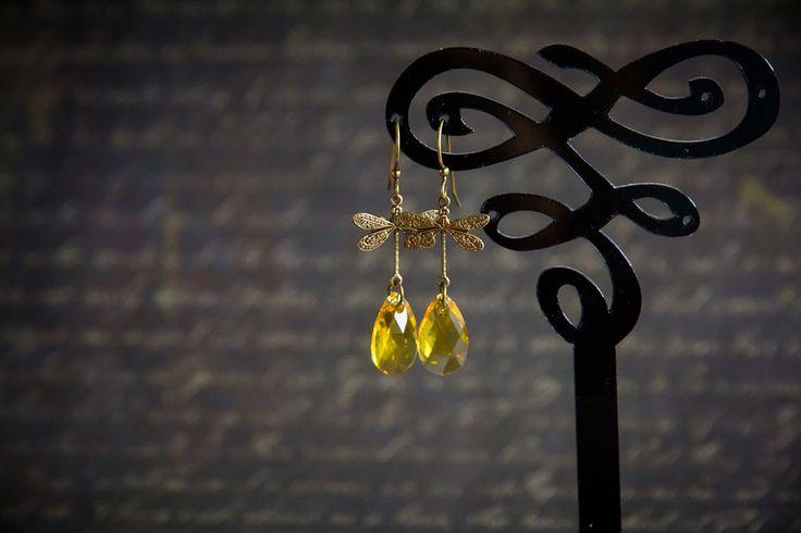 """Купить Серьги с кристаллами Сваровски """"Солнечный день"""" - желтый, серьги, желтые серьги, солнечные серьги"""