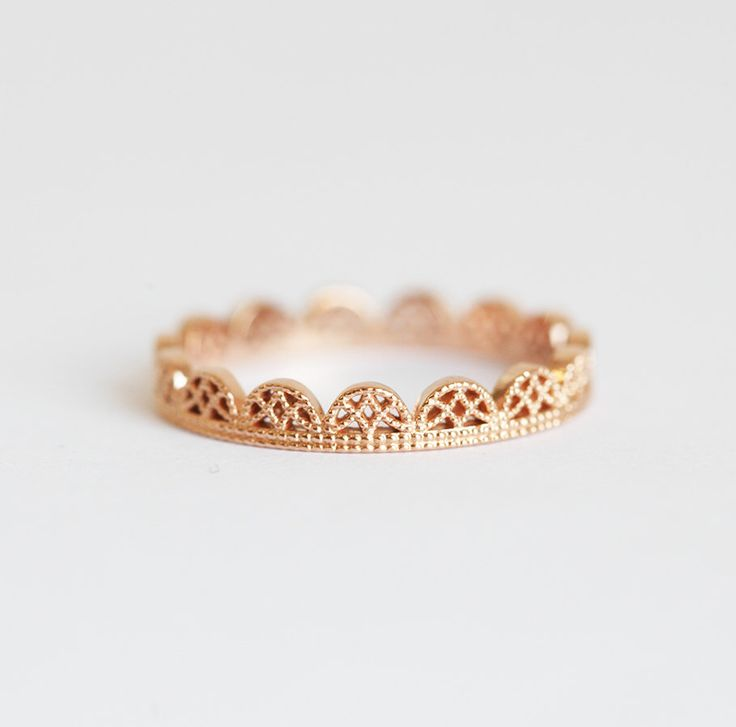 Filigree Ring, Rose Gold Band, Lace Ring, Lace Wedding Band, Dainty Lace Ring, Delicate Lace Ring, Ring with lace, rose gold ring by MinimalVS on Etsy https://www.etsy.com/listing/486966194/filigree-ring-rose-gold-band-lace-ring