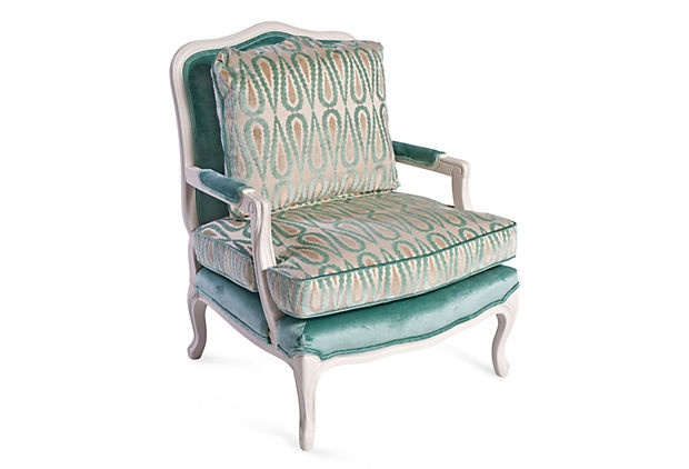 Another One Kings Lane expensive chair.  I think its lovely, I'm now considering painting the exposed wood on the french style sofas in the attic white like this chair.  Love the turquoise color also, and the patterned velvet of the top cushions.  It looks comfortable, to boot!