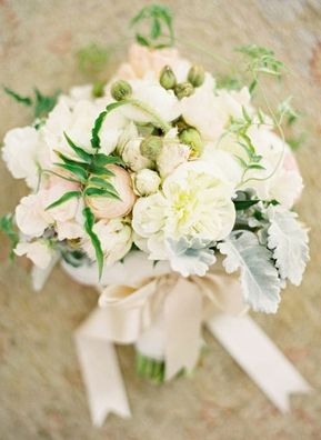 Romantic white bouquet with lamb's ear | Photo by Jose Villa #white #bouquet #wedding #lambsear