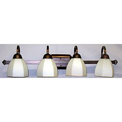 Classic Tea-Stain-Glass Copper-Finished Four-Light Vanity Strip   Overstock.com Shopping - The Best Deals on Sconces & Vanities