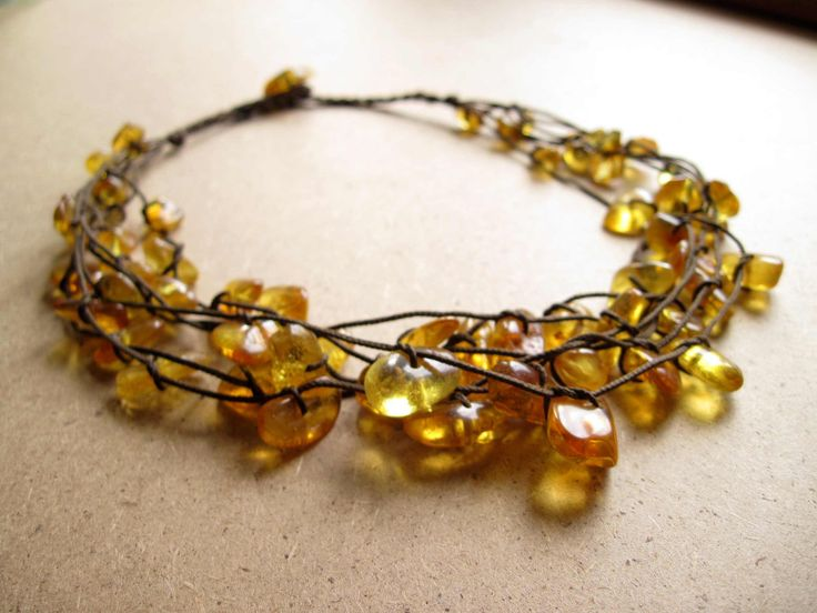 Baltic Amber Necklace - Natural Honey Amber Jewelry -  Sunny Yellow Bee Brown Cord - Multi Strand Necklace. $55.00, via Etsy.