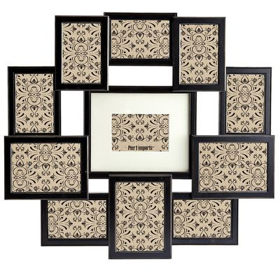 "Bennet Collage Frame - Black  $39.96  Pier 1 Imports 26.61""W x 0.79""D x 23.58""H Pine wood, engineered wood, glass Holds 1 8"" x 10"" photo, 3 5"" x 7"" photos,  7 4"" x 6"" photos"