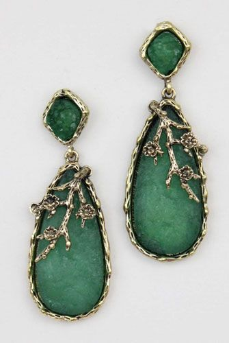 A touch of antique sparkle, brass tear drop earrings by Design Spark.