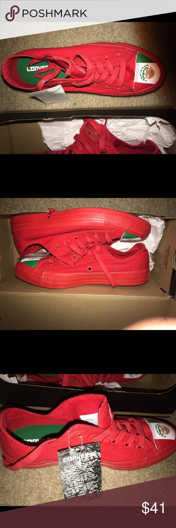 Unisex Red Converse, Mexican Flag edition, low top Brand new red Converse shoes with Mexican flag on the toe. Box included Converse Shoes Sneakers