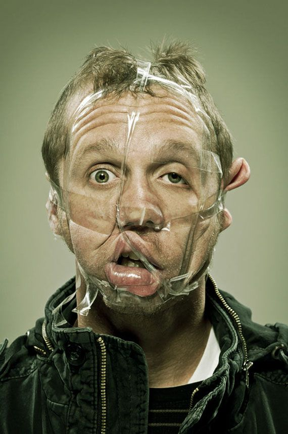 Scotch Tape: A Photoseries Of Taped Faces.  This would actually be a funny page divider.  Just don't know which section.