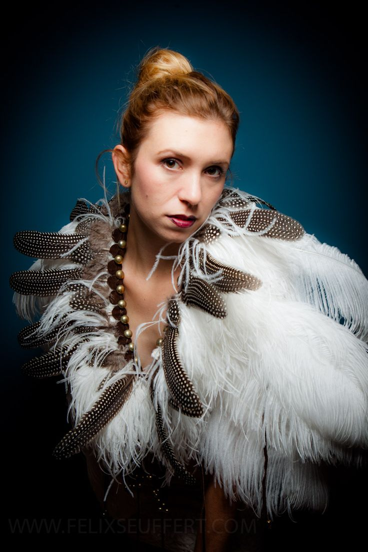 Feather shoulder piece - Designed, made and styled by September Mcnabb.  www.septembermcnabb.com - Photographer: Felix Seuffert.