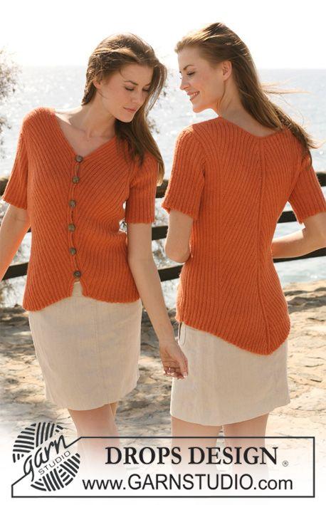 """DROPS vest in boordsteek met korte mouwen van """"Alpaca"""". DROPS design: Model nr. Z-470. ~ DROPS Design"""