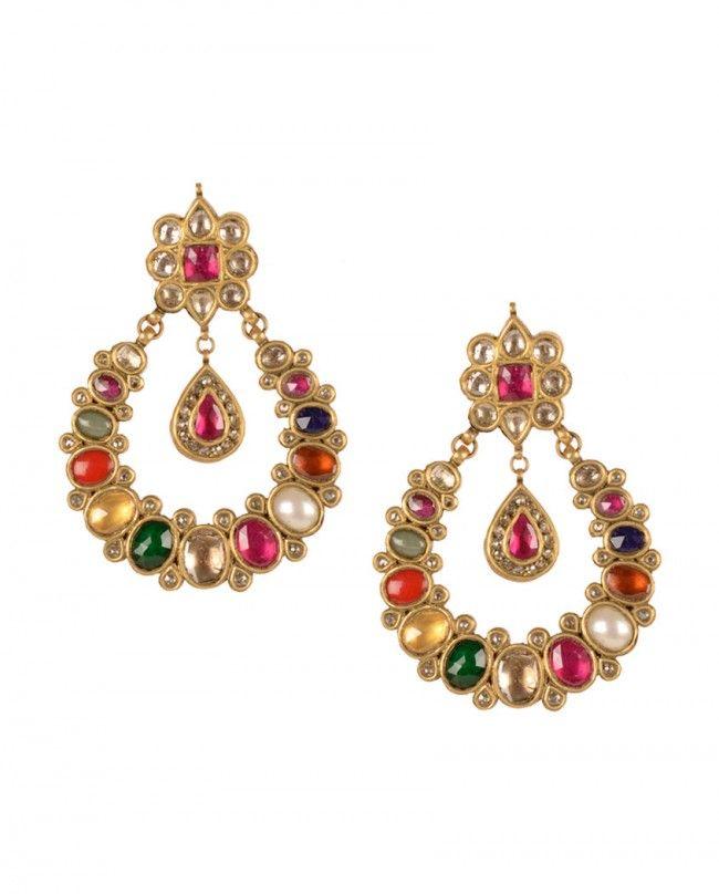 Gold Navratan Earrings- Buy Earrings,House of Samsar Online