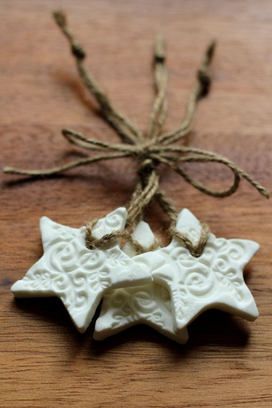 Embossed white ceramic Star Shaped Christmas Ornaments