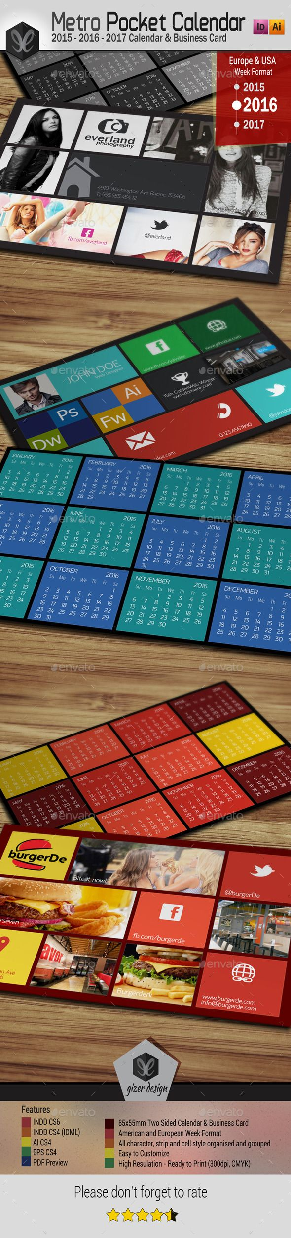 Pocket Calendar 2016 - 2015 - 2017 - Metro Style - Calendars Stationery