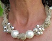 Linen Necklace Knots Fantasy XL Pearls Metalic Pearls,Eco-friendly Handmade Desing Mediterranean Style