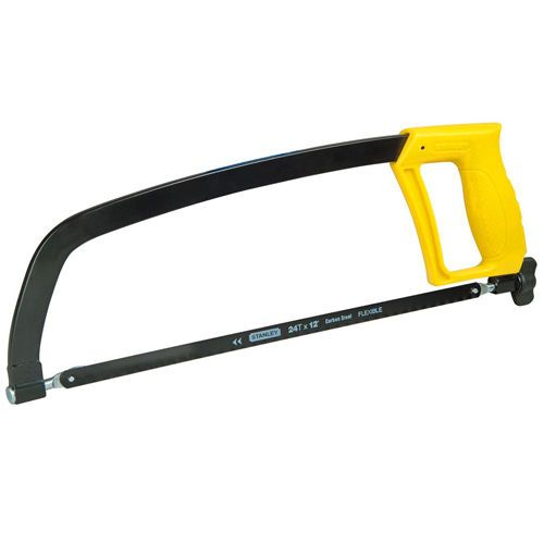 Hand Hacksaw Yellow Pistol Grip Metal Cutter Adjustable Blade Heavy Dutty Work #Stanley