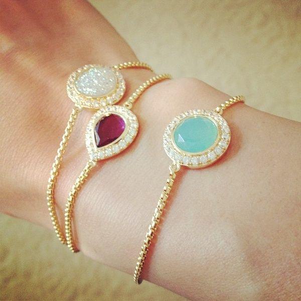 single gem stacked bracelets