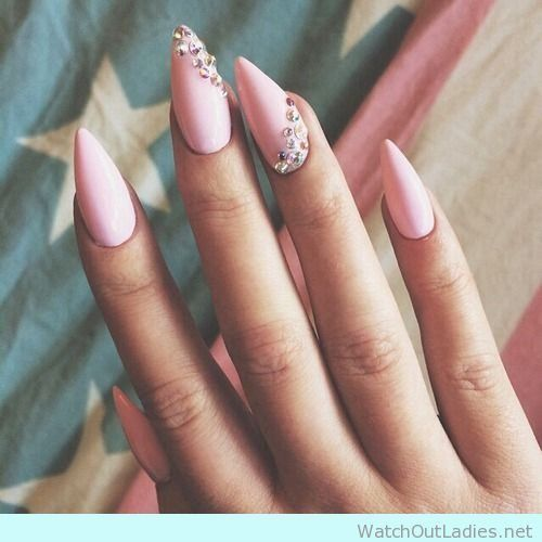 Lovely baby pink matte nails with diamonds