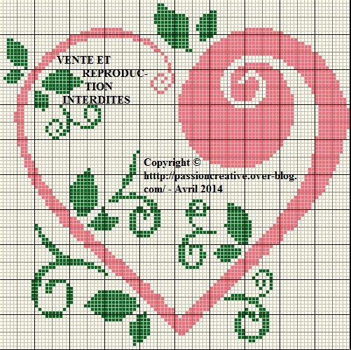 Grille gratuite point de croix : Coeur vert et rose