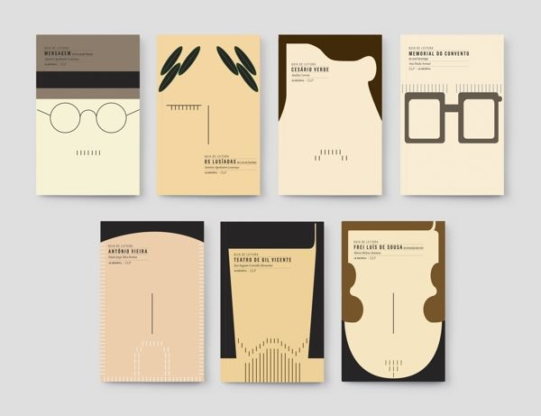 "a series of literature reading guides for University  & High School level students. The design approach was to literally ""create the author's face on the cover of the book""."