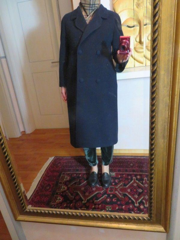 Mantel Oversize Wolle Blau
