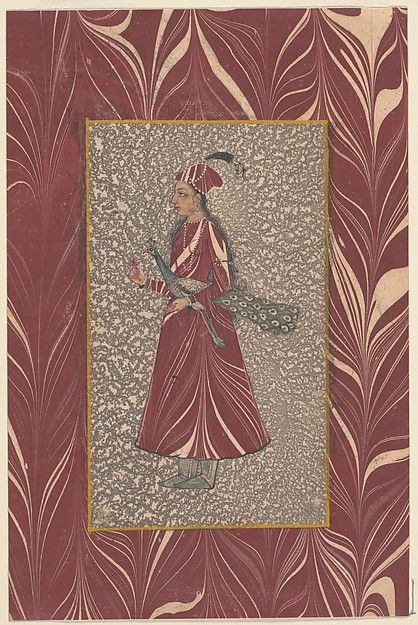 Lady Carrying a Peacock Object Name: Album leaf, illustrated Date: late 17th–early 18th century Geography: India, Deccan, probably Hyderabad Culture: Islamic Medium: Opaque watercolor and marbled paper on paper Dimensions: Mat: 20 in. × 13 1/2 in. (50.8 × 34.3 cm) Image: 8 in. × 5 1/4 in. (20.3 × 13.3 cm) Classification: Codices Credit Line: John Frederick Lewis Collection, Rare Book Department, Free Library of Philadelphia