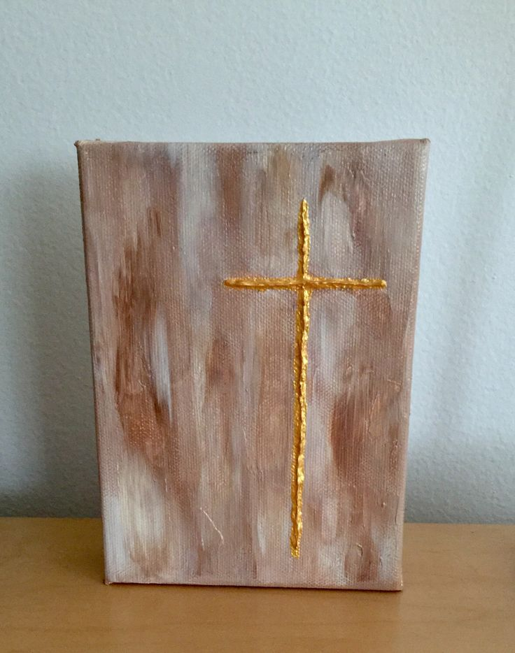 Textured gold cross acrylic painting by Kim Mlyniec