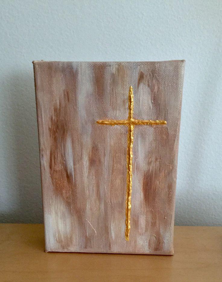 Textured gold cross acrylic painting by Kim Mlyniec