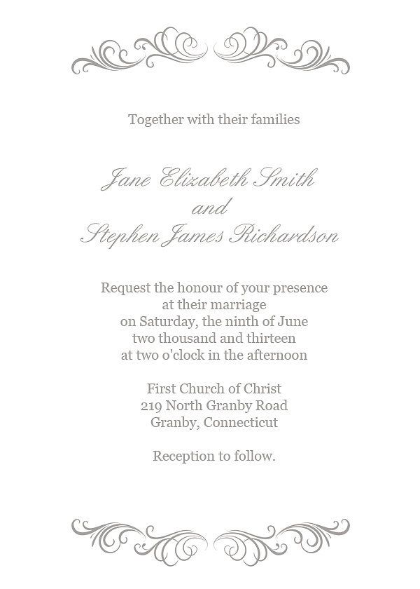 Download the silver flourish wedding invitation template here. Source: Printable Invitation Kits