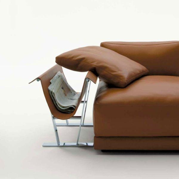 Beistelltisch  Zeitungshalter Leder Metall Sofa