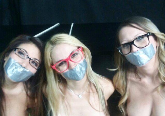 Girls, glasses, and gags. Oh my! #glassesfetish #gag #gagged #fetish #bestjobever