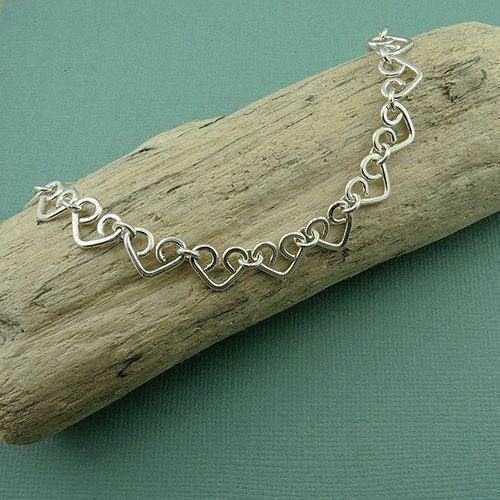 Heart Bracelet - sterling silver handmade heart chain bracelet -  valentines day
