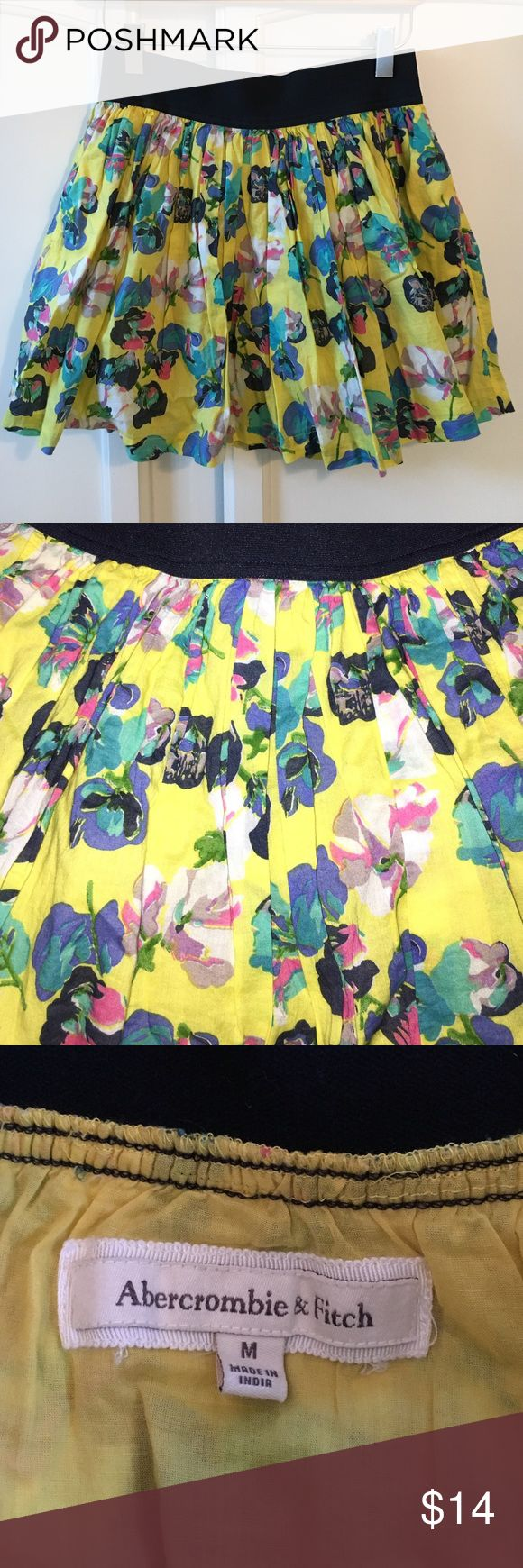 Abercrombie and Fitch Skirt Yellow, pink and blue flower skirt. Lightly worn but still in very good condition. Size medium but fits more like a small. Abercrombie & Fitch Skirts