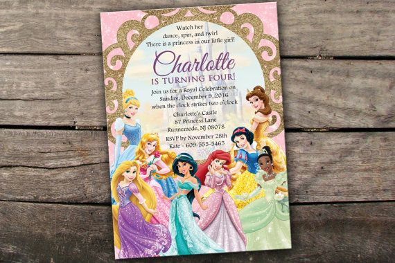 Welcome to Savannahs Memories!  PLEASE READ THROUGH THIS LISTING IF YOU HAVE ANY QUESTIONS! =)  This Disney Princess Birthday invitation is