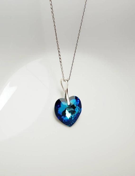 Pendant Necklace Valentine Sale 3.00 Carat Big Blue Topaz Diamond Pendant Necklace in  Silver Silver Pendant Everyday necklace Pendant
