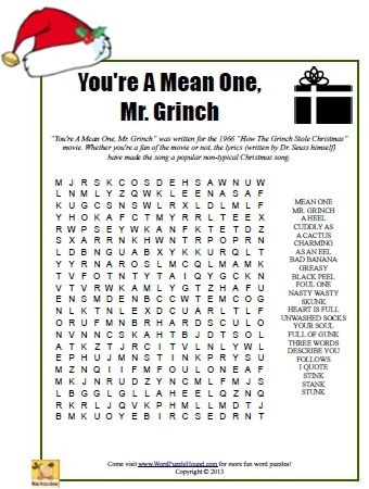 You're A Mean One, Mr. Grinch Word Search - Christmas printable puzzle