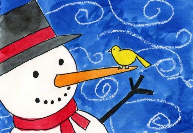 Windy Snowman – Art Projects for Kids