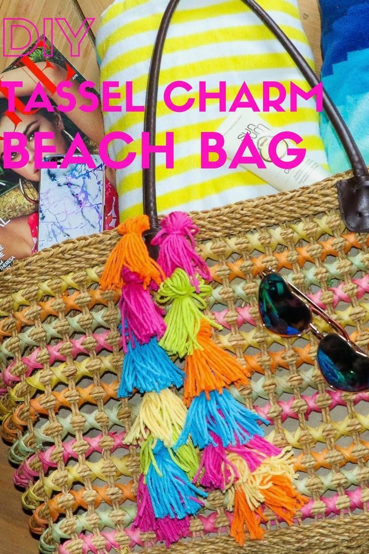 DIY Tassel Charm Beach Bag