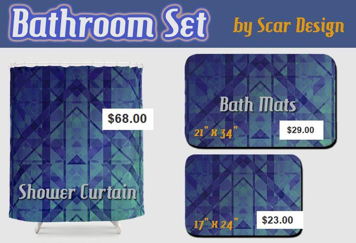 Geometric Modern Bathroom Set with Shower Curtain and bath mat by Scar Design. #bathroom #bathset #bathroomdecor #bath #showercurtain #bathmat #bathroommat #homedecor #homegifts #gifts