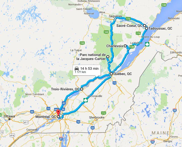 Road Trip Canada Quebec Montréal Quebec Charlevoix Tadoussac Saguenay