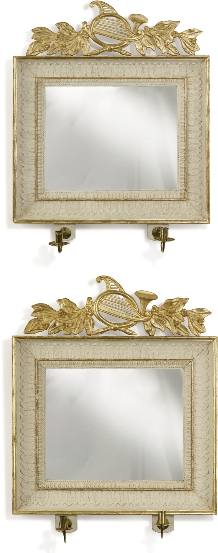 A PAIR OF GUSTAV IV SWEDISH NEOCLASSICAL WHITE-PAINTED AND PARCEL-GILT  GIRANDOLE MIRRORS