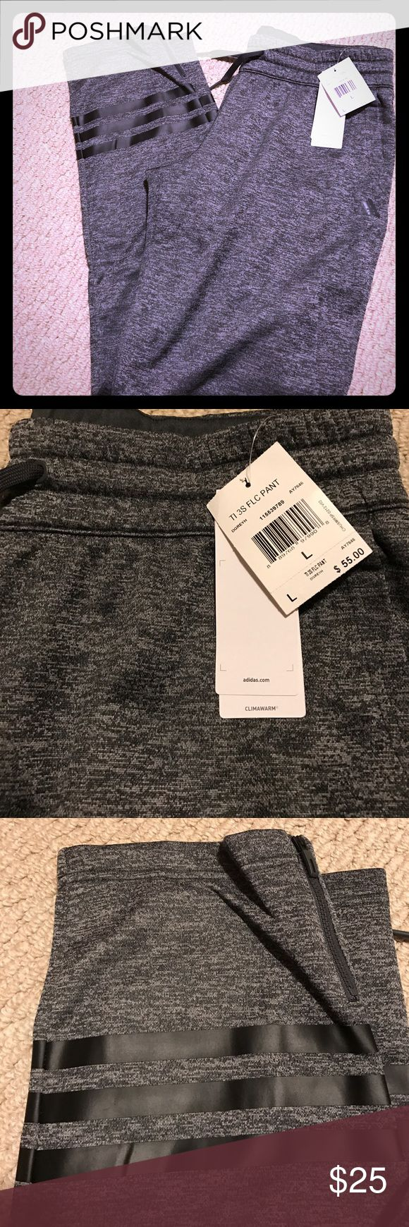 NWT 3 stripe fleece joggers NWT 3 stripe fleece joggers from adidas. Very comfy and warm, with three stripes and a zipper around the ankle. No trades. Reasonable offers considered but no lowballs accepted. Bundle to save more. Adidas Pants Track Pants & Joggers
