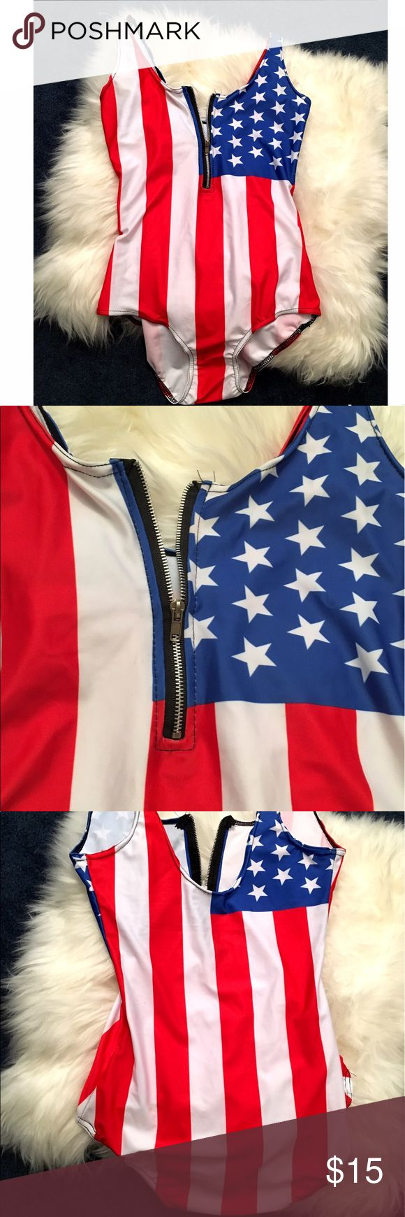 American flag one piece swimsuit American flag one piece swimsuit. Has usable zipper on front. Has never been worn Swim One Pieces