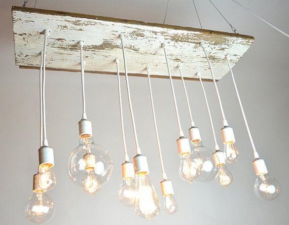 White Texan Barnwood Chandelier with edison bulbs by urbanchandy, $350.00... I'm gonna make it!
