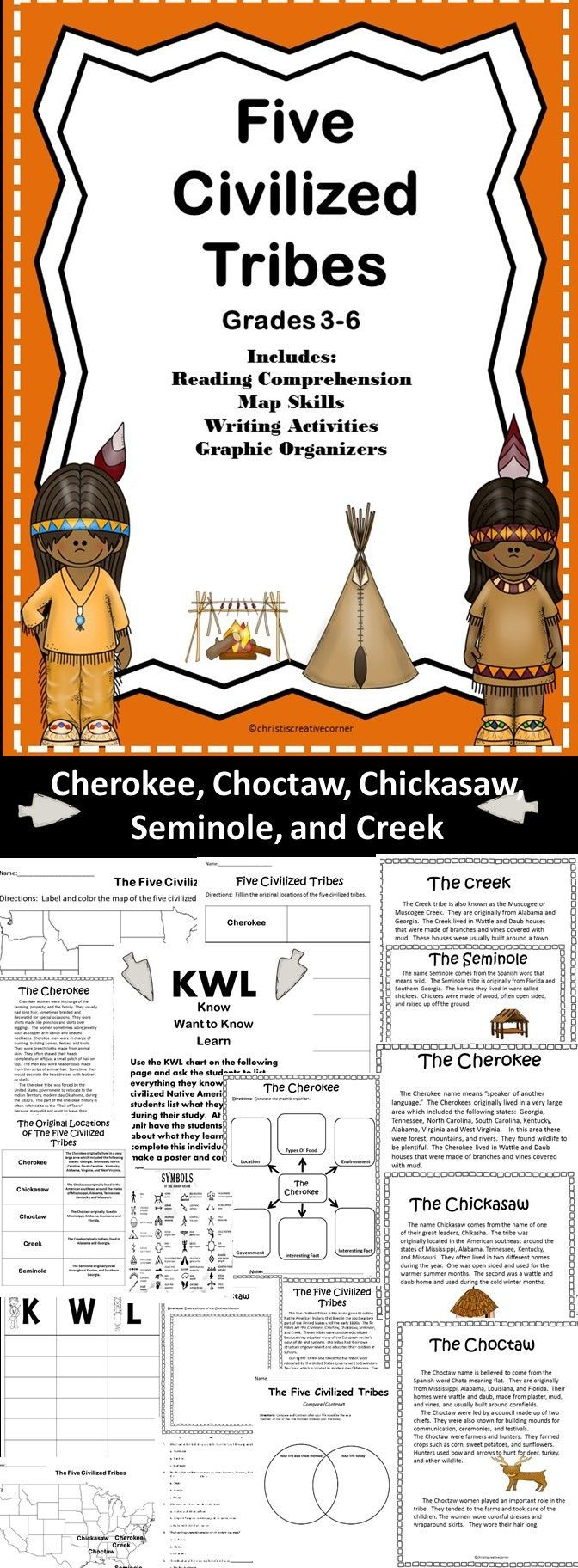 Five Civilized Tribe is a brief history of the Cherokee, Choctaw, Chickasaw, Seminole and the Creek tribes. This product includes reading comprehension, map skills, writing activities, and graphic organizers, and MORE!