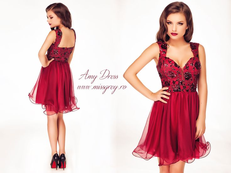 Short occasion dress made from silk veil and sequined lace in shades of burgundy: https://missgrey.ro/ro/rochii/rochie-amy/394?utm_campaign=iulie&utm_medium=rochie_amy&utm_source=pinterest_produs