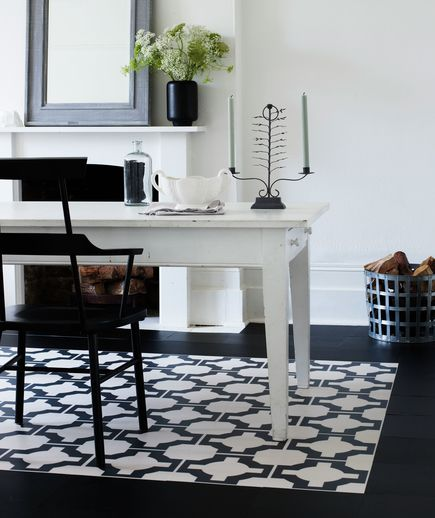 Dining area with bold black and white patterned area rug/ or contrasting tile: good for breakfast nook