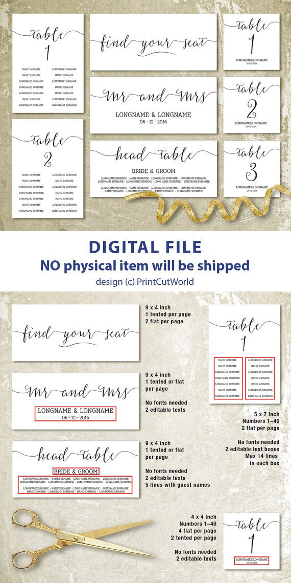 28 best Printable wedding templates - DIY images on Pinterest - number chart template