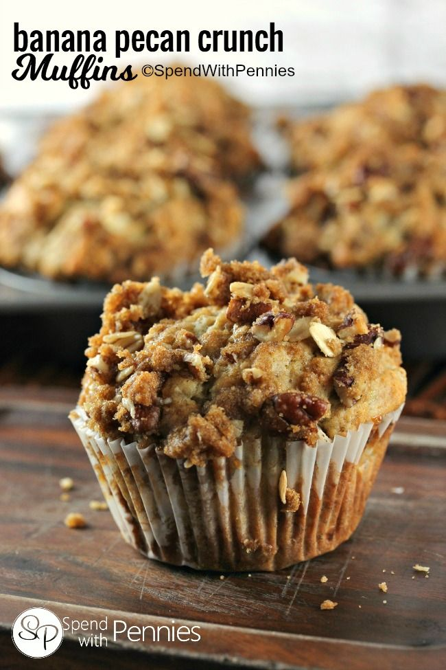 Our favorite muffins!  These moist banana nut muffins are topped with a deliciously sweet & crunchy pecan streusel! | spendwithpennies.com