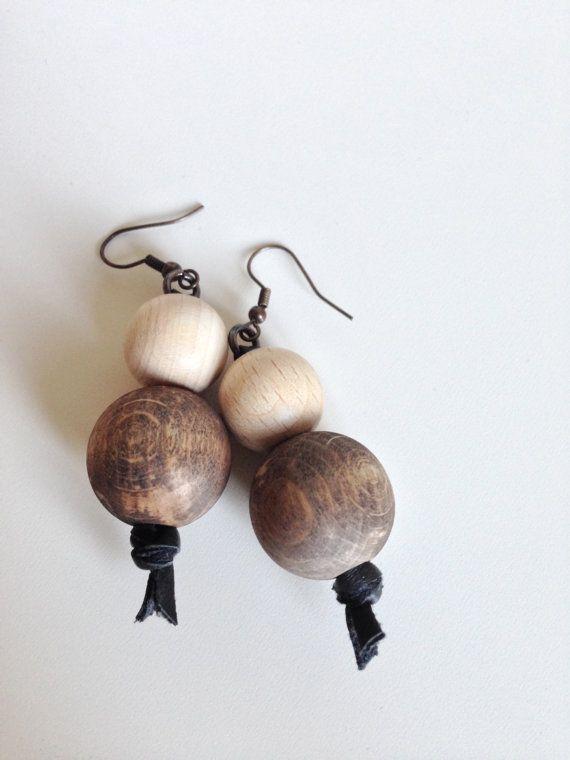 Wood Beads Earrings  Dangle Earrings  Natural by SashuDecorBureau