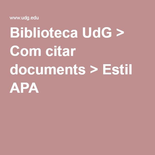 Biblioteca UdG > Com citar documents > Estil APA